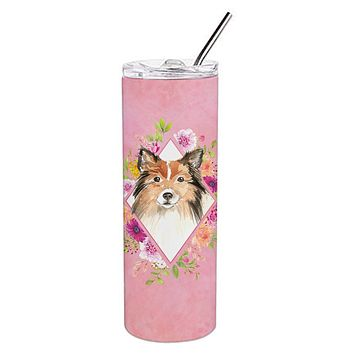 Sheltie Pink Flowers Double Walled Stainless Steel 20 oz Skinny Tumbler CK4213TBL20