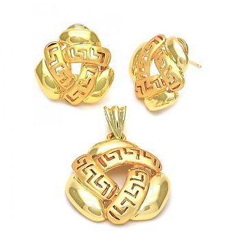 Gold Layered 5.060.007 Earring and Pendant Adult Set, Greek Key Design, Golden Tone