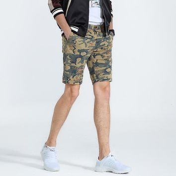 Men's Slim Fit Camouflage Pattern Knee-Length Short Pants
