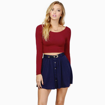 Red Wine Long Sleeve Cropped Top