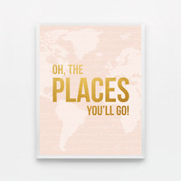 Oh the Places You'll Go Map Nursery Art Oh the Places You Will Go Print Baby Nursery Decor - Pink and Gold Nursery Art - Pink Nursery Decor