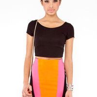 Millenium Color Block Skirt in Fuchsia :: tobi
