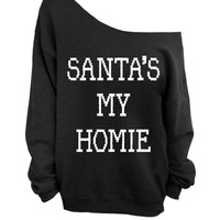 Santa's My Homie - Ugly Christmas Sweater - Black Slouchy Oversized Sweater
