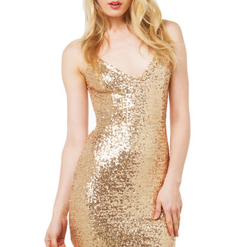 Sequence Open Back Dress - Gold