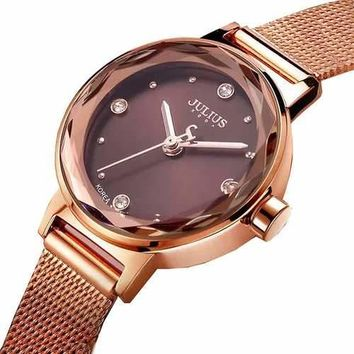 JULIUS 917 Simple Fashion Mesh Stainless Steel Strap Girls Quartz Watch