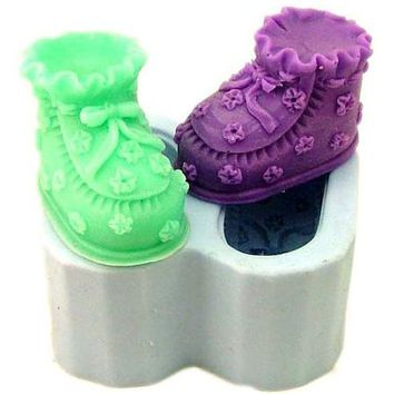 Soap Mold  2-Baby Shoes  Flexible Silicone Mould diy Mould in Handmade