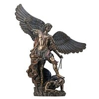 St. Michael The Archangel Slaying the Devil Bronze Finish Statue