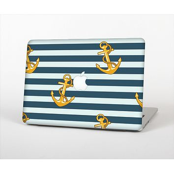The Navy Striped with Gold Anchors Skin Set for the Apple MacBook Air 13""
