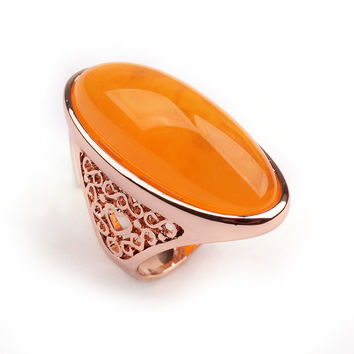 Rose Gold Amber Stones Ring