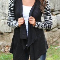 Geometric Patterned Long Sleeve Cardigan
