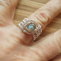 Sterling Silver Labradorite Wire Wrapped Ring Wire Wrapped Jewelry Handmade Size 7.5 Wire Wrap Ring