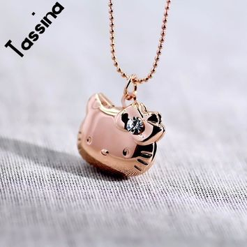 Tassina Crystal Necklace Pendant Photo floating memory Locket Necklace Cute Cat Hello Kitty For Women Men Sweet Memory MLY224N