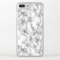 White Marble Texture Clear iPhone Case by Smyrna