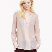 Banana Republic Womens Silk Banded V Neck Blouse