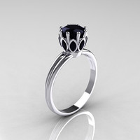 Modern Antique 10K White Gold Marquise and 1.0 CT Round Black Diamond Solitaire Ring R90-10KWGBDD