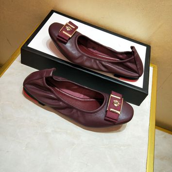 GUCCI Women Fashion BOW Casual Stylish Platform Leather RED Flat Shoes