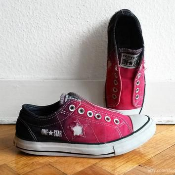 Red ombre Converse One Star slip-on sneakers, upcycled vintage shoes, size eu 37.5 (US
