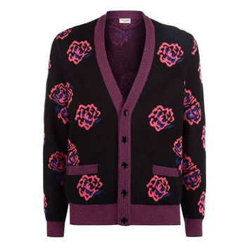 Neon Floral Cardigan by Saint Laurent