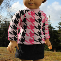 18 inch doll clothes,pink and black  houndstooth print sweater,black corduroy mini skirt, american girl, maplelea