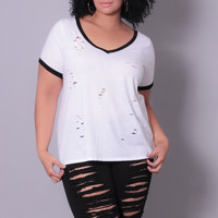 Plus Size Destroyed TriBlend V-Neck Tee - White