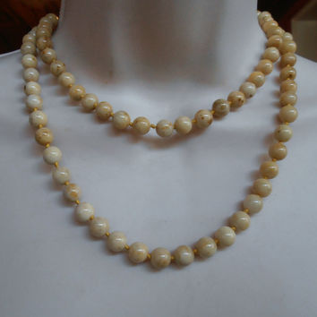 "White Angel Skin Coral Necklace, Hand Knotted 36"" Long 67 grams 8mm Beads, Gift For Her, Bridal Wedding Jewelry"