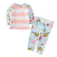 2pcs Newborn Toddler Infant Baby Girls Clothes Long Sleeve T-shirt Tops+Pants Floral Baby Pink Outfits Set