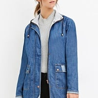 Heathered Drawstring Denim Jacket