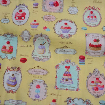 Yuwa Fabric Macaron and sweets Half meter A12 Yellow