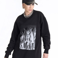 WE ARE MORTALS Liquid Silver Patch Sweatshirt