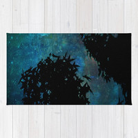 Blue, Trees, Sky, Stars - Decorative Throw Rug, 3 Sizes Available - Kitchen, New Home, Bathroom, Bedroom, Guest Room - Made To Order-NSIJ#76