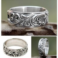Leaf and Tree Sterling Silver Band Ring - Flourishing Foliage | NOVICA