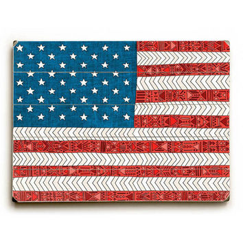 USA Flag by Artist Bianca Green Wood Sign