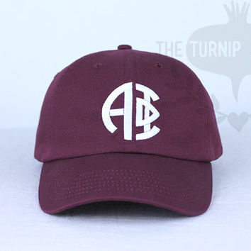 Alpha Phi Circle Design Baseball Cap - Custom Color Hat and Embroidery.