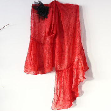 Red chiffon scarf, Red sequined shawl, Crimson Chiffon Scarves, Pomegranate blossom, Big Red scarf, Unique Christmas gifts, Red woman wrap
