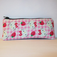 """Hello Kitty with Strawberries Cotton Padded Pipe Pouch 7.5"""" / Glass Pipe Case / Spoon Cozy / Piece Protector / Pipe Bag / LARGE"""