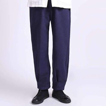 tactical pants chinese wind more bigger sizes with velvet linen slacks pure color restoring ancient ways and trousers