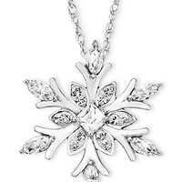 Kaleidoscope Crystal Snowflake Pendant Necklace with Swarovski Elements in Sterling Silver