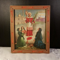 Religious Print of Saint and 3 Women Catholic Art Print Orthodox Religious Print Wooden Frame Hanger Religious Wall Hanging Red Saint Bishop