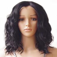 Body Wave Bob Synthetic Hair Wig Natural Black 40cm Lace Front