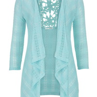 cardigan with metallic stripes and lace back in ocean tide