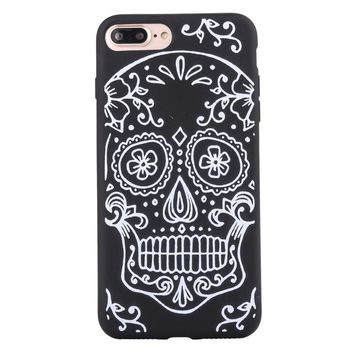 Fashion Gothic White Color Skull Matte Soft Ultrathin TPU Case Phone Case Shell for iPhone 7 Plus