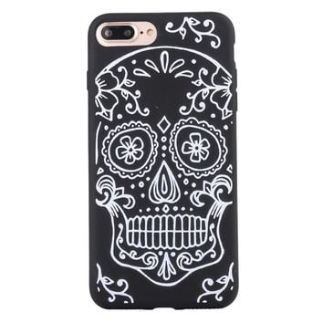 Gothic White Color Skull Matte Soft Ultrathin TPU Case Phone Case Shell for iPhone 7 Plus