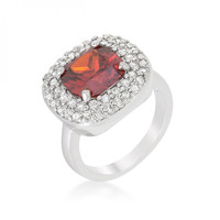 Micropave Red Bridal Cocktail Ring
