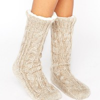 ASOS Cable Faux Fur Lined Slipper Sock