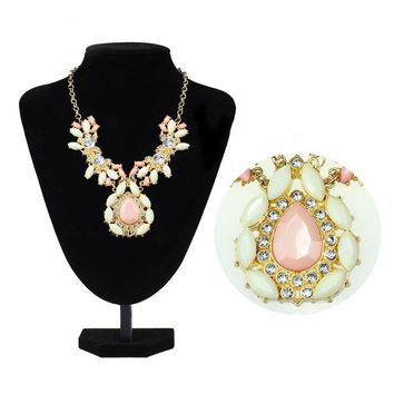 Women Gold Plated Crystal Gems Water Drop Statement Necklace Jewelry