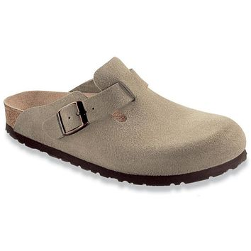 Beauty Ticks Birkenstock Classic Boston Narrow Fit Suede Leather Taupe