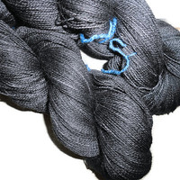 "Luxury Hand Dyed Baby Alpaca - Mulberry Silk Lace Yarn, 2-ply Charcoal  ""Spirit of Luxury"""