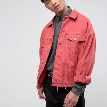 ASOS Oversized Denim Jacket in Red at asos.com