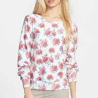 Women's Wildfox Rose Print Baggy Beach Jumper Pullover,