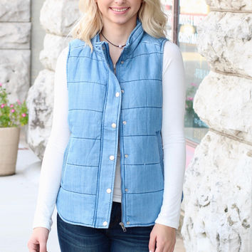Washed Denim Puffer Vest {L. Blue}